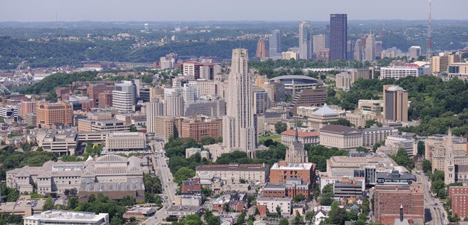 An aerial view of Oakland with the downtown Pittsburgh skyline in the background
