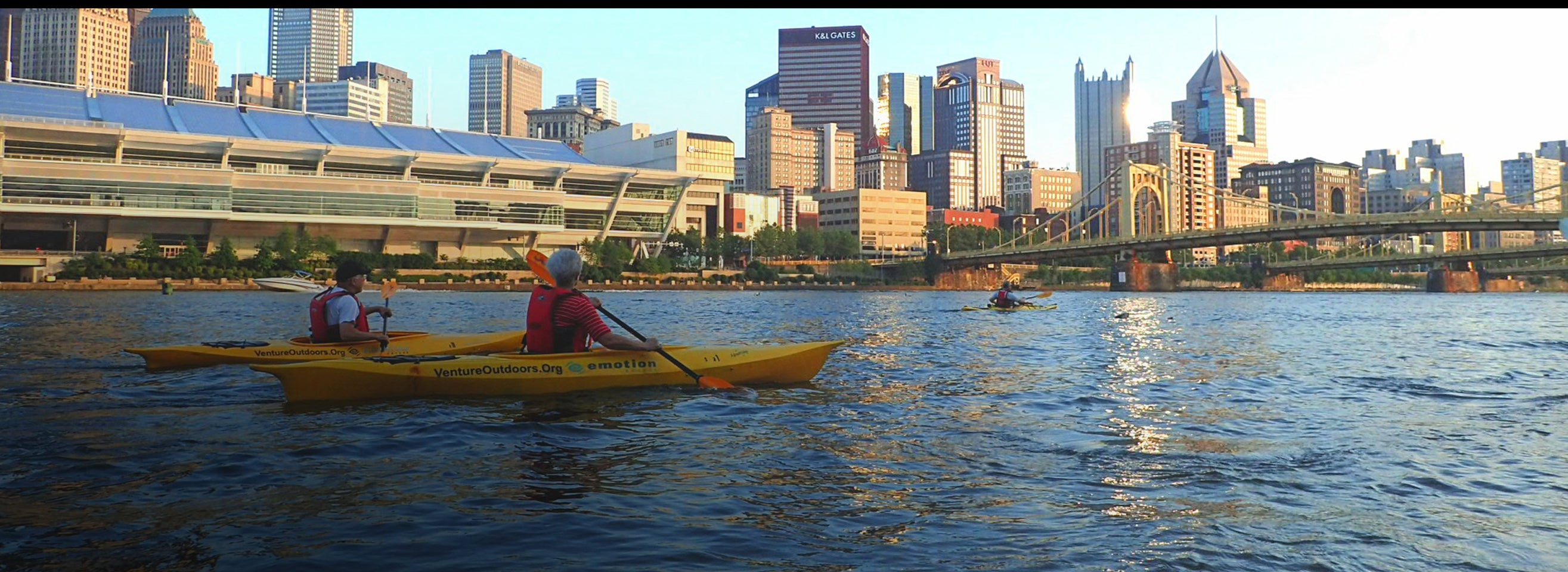 Kayakers paddle their way down one of Pittsburgh's three major rivers
